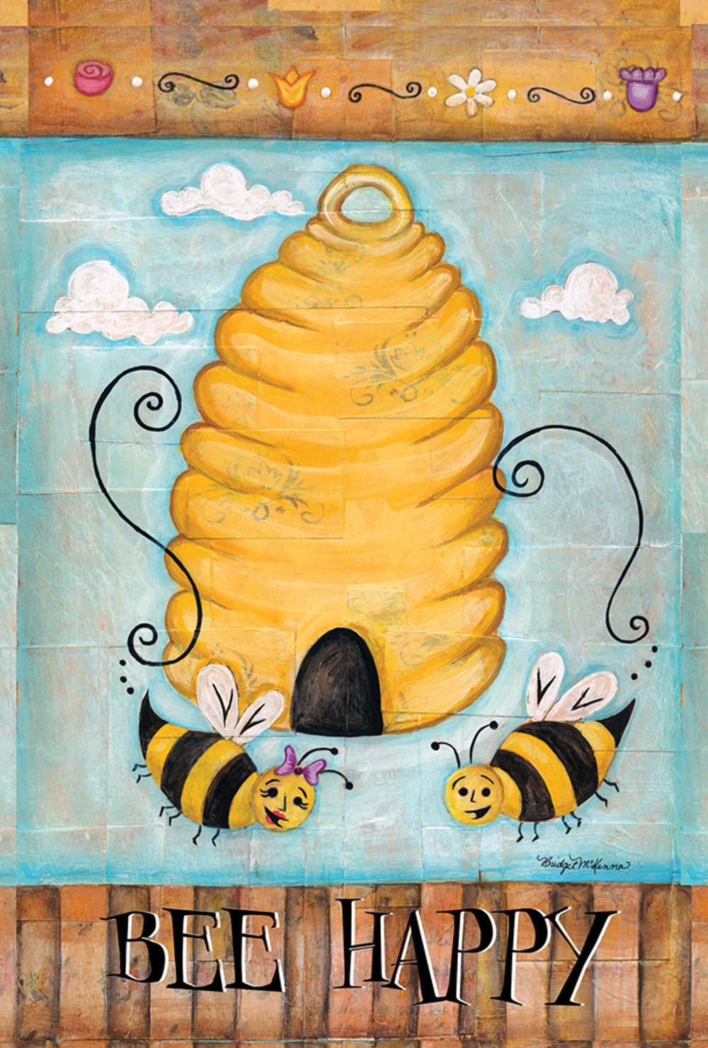 Toland Home Garden Bee Happy 12.5 x 18 Inch Decorative Cute Buzzing Bees Hive Garden Flag