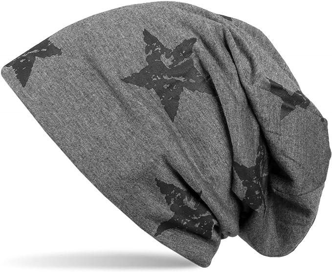 Beanie Mütze mit Sterne Print im Destroyed Vintage Look Stars Longbeanie Unisex