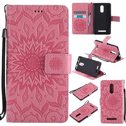 pinlu® Flip Funda de Cuero para Xiaomi Redmi Note 3 / Note 3 Pro Carcasa con Función de Stent y Ranuras con Patrón de Girasol Cover (Rosa)