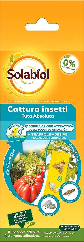 Solabiol Para La Mosca Blanca Y Polilla De Tomate, 4 Placas Trampas Adhesivas contra Insectos, Amarillo, Paquete de 4