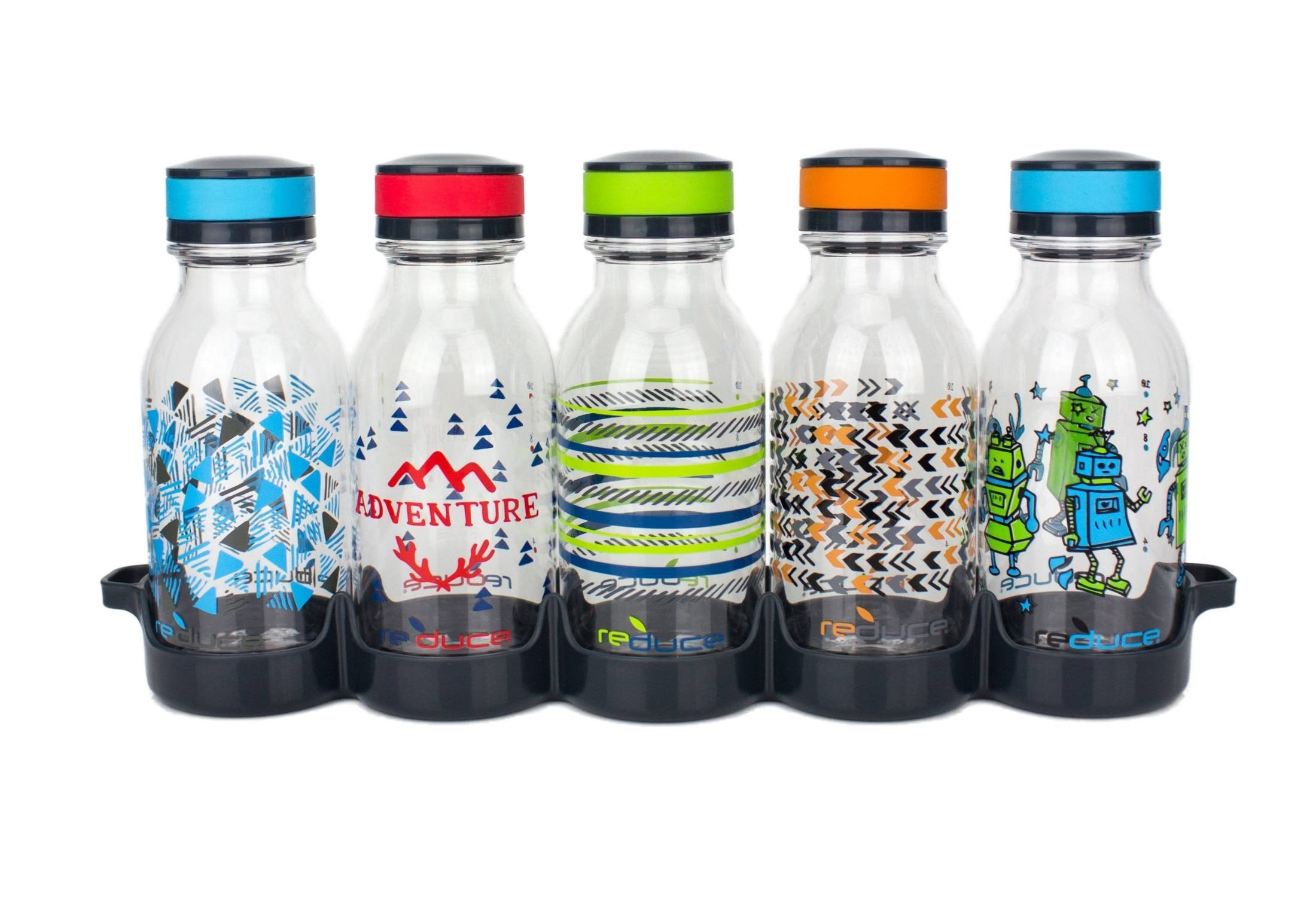 reduce WaterWeek Kids Reusable Water Bottle Set with Fridge Tray - 5 Flask Pack, 14oz - Cute and Colorful Adventure Design - BPA Free, Leak-Proof Twist Off Cap - Perfect for Lunchboxes and Road Trips