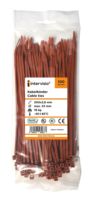 100 Pezzi Fermacavo Colorate Marrone Elettricista 370mm Nylon Cavi Velcro Stringicavo intervisio Fascette Plastica per Cablaggio 370 mm x 4,8 mm