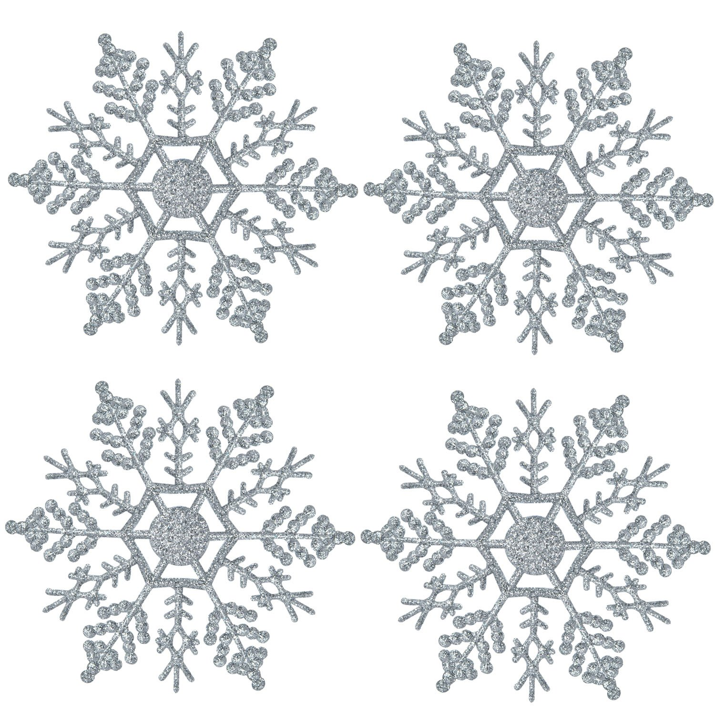 MUITOBOM Plastic Glitter Snowflake Christmas Tree Decoration Snowflakes, 4-Inch, Lime, 36 Pcs (Silver)
