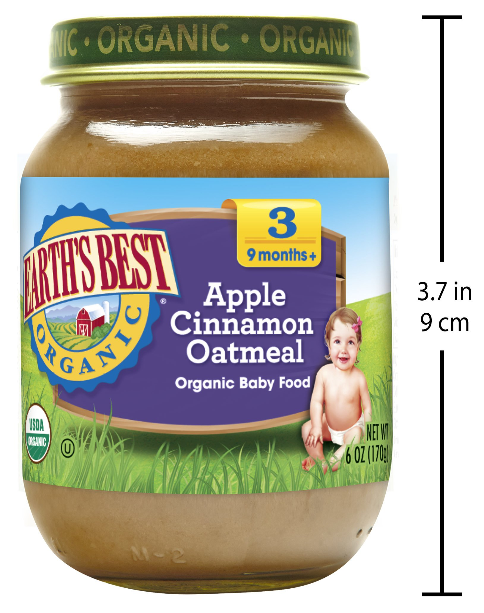 Earth's Best Organic Stage 3, Apple, Cinnamon & Oatmeal, 6 Ounce Jar (Pack of 12) by Earth's Best (Image #4)