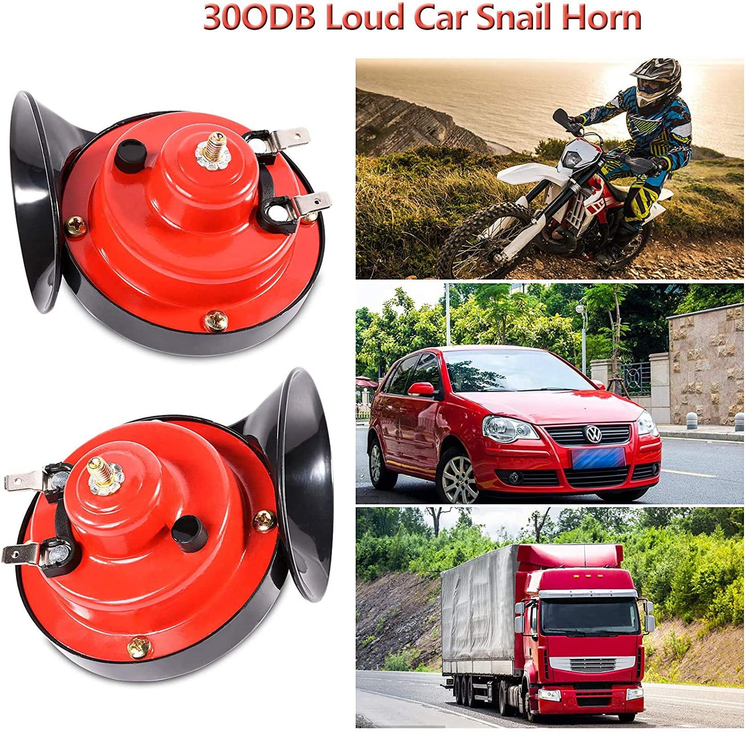 Motorcycle MASALING 2Pcs 300db Train Horn for Trucks,24V Super Loud Air Electric Snail Horn Waterproof Train Horns Kit for Trucks Cars Bikes /& Boats