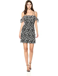 d7112ed723f French Connection Women's Fulaga Lace Overlay Off The Shoulder Short Sleeve  Dress