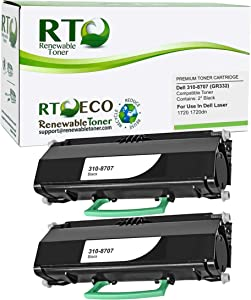 Renewable Toner Compatible Toner Cartridge Replacement for Dell 310-8707 MW558 Laser 1720 1720dn (Pack of 2 Black)