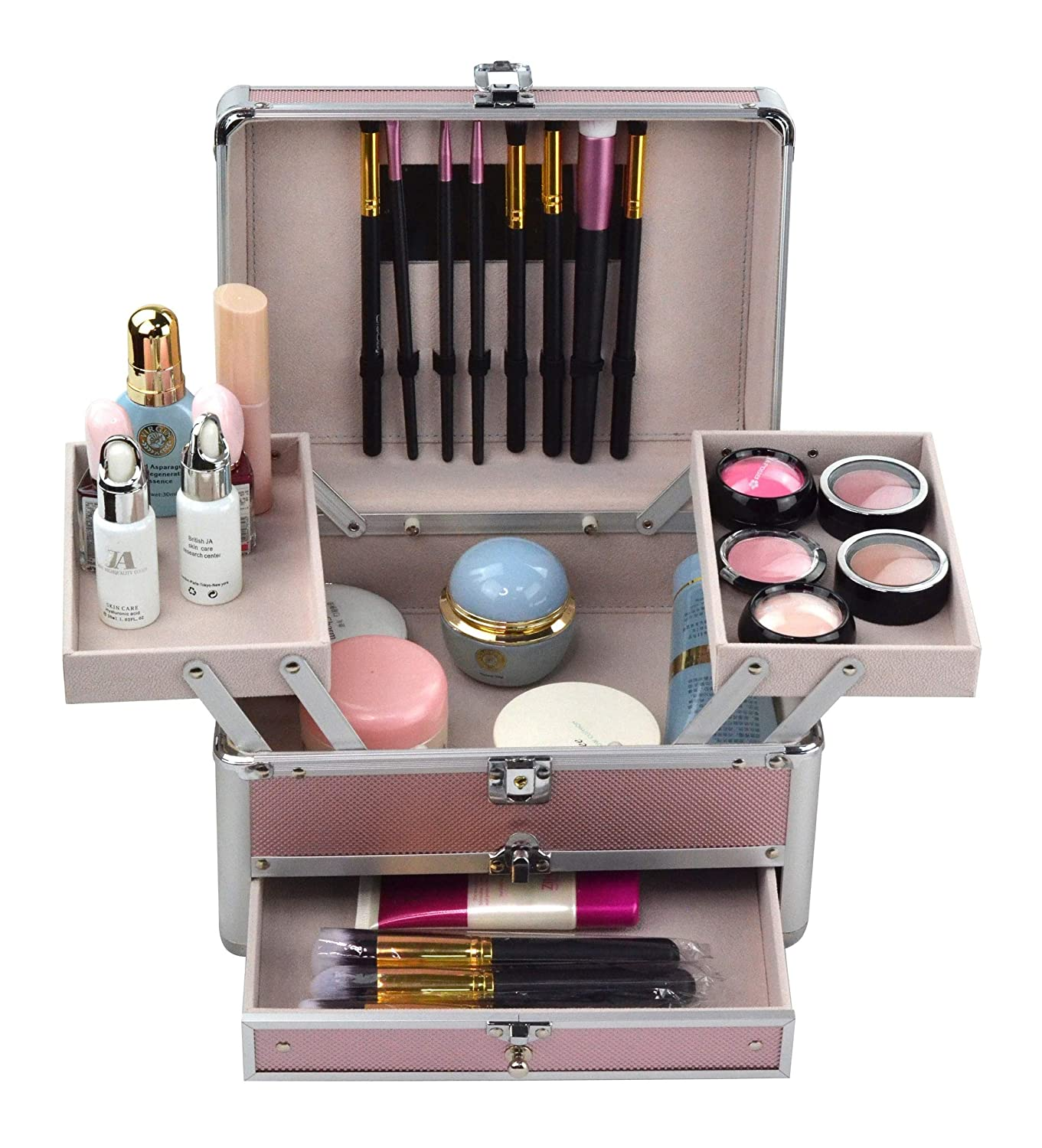 Reme Makeup Train Case Cosmetic Organizer Case With Trays and Drawer for Cosmetics,Jewelry Box or Gift Box,Aluminum Frame