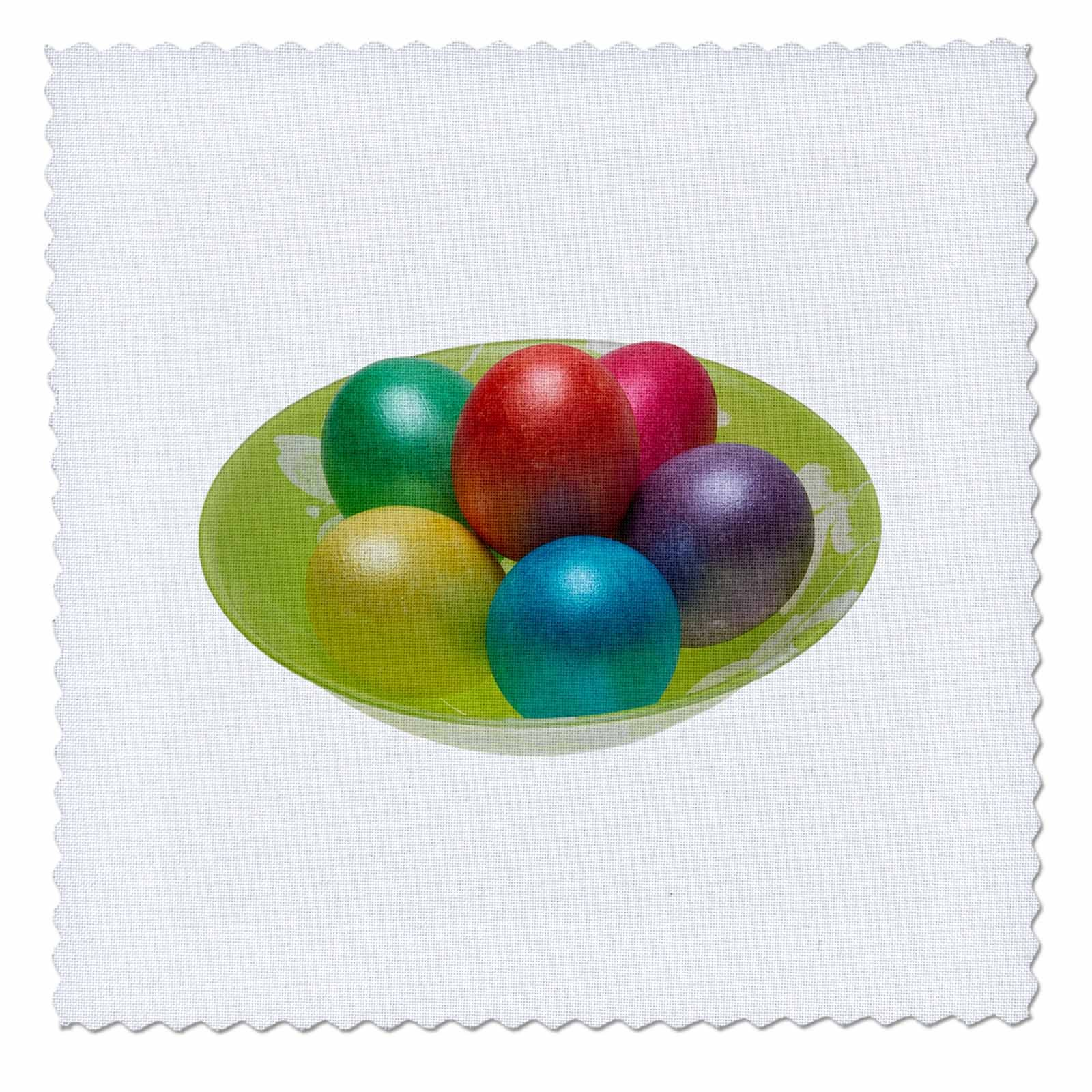3dRose Alexis Photography - Easter - Easter eggs on a plate - 14x14 inch quilt square (qs_265481_5)