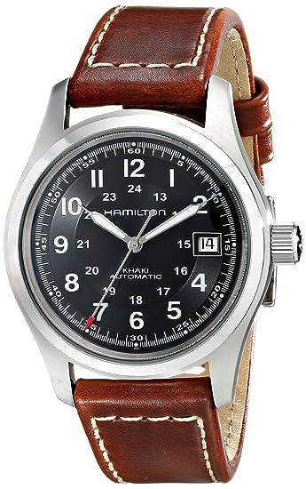 220dec401c00 Hamilton Reloj Analogico para Hombre de Automático con Correa en Cuero  H70455533  Amazon.es  Relojes