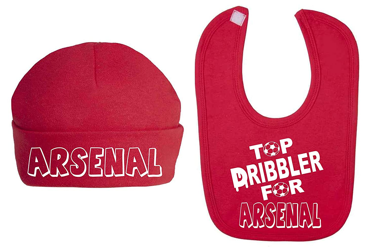 82c514dc4f8 Top Dribbler for Arsenal Hat and Bib Set Baby Clothing Sets Baby Football  Sets Baby Shower (6-12 Months)  Amazon.co.uk  Baby