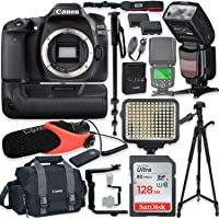 "Canon EOS 80D DSLR Camera Body Only Kit with Pro Photo & Video Accessories Including 128GB Memory, Speedlight TTL Flash, Battery Grip, LED Light, Condenser Micorphone, 60"" Tripod & More"