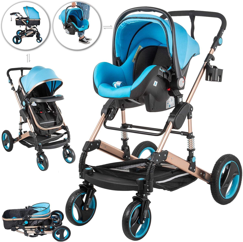 Husuper Carrito Bebé 3in1 Silla de Paseo 85x37x64cm Silla de Paseo Ligera Carro bebe Carritos para Muñecas Plegado Fácil con una Mano Color Azul
