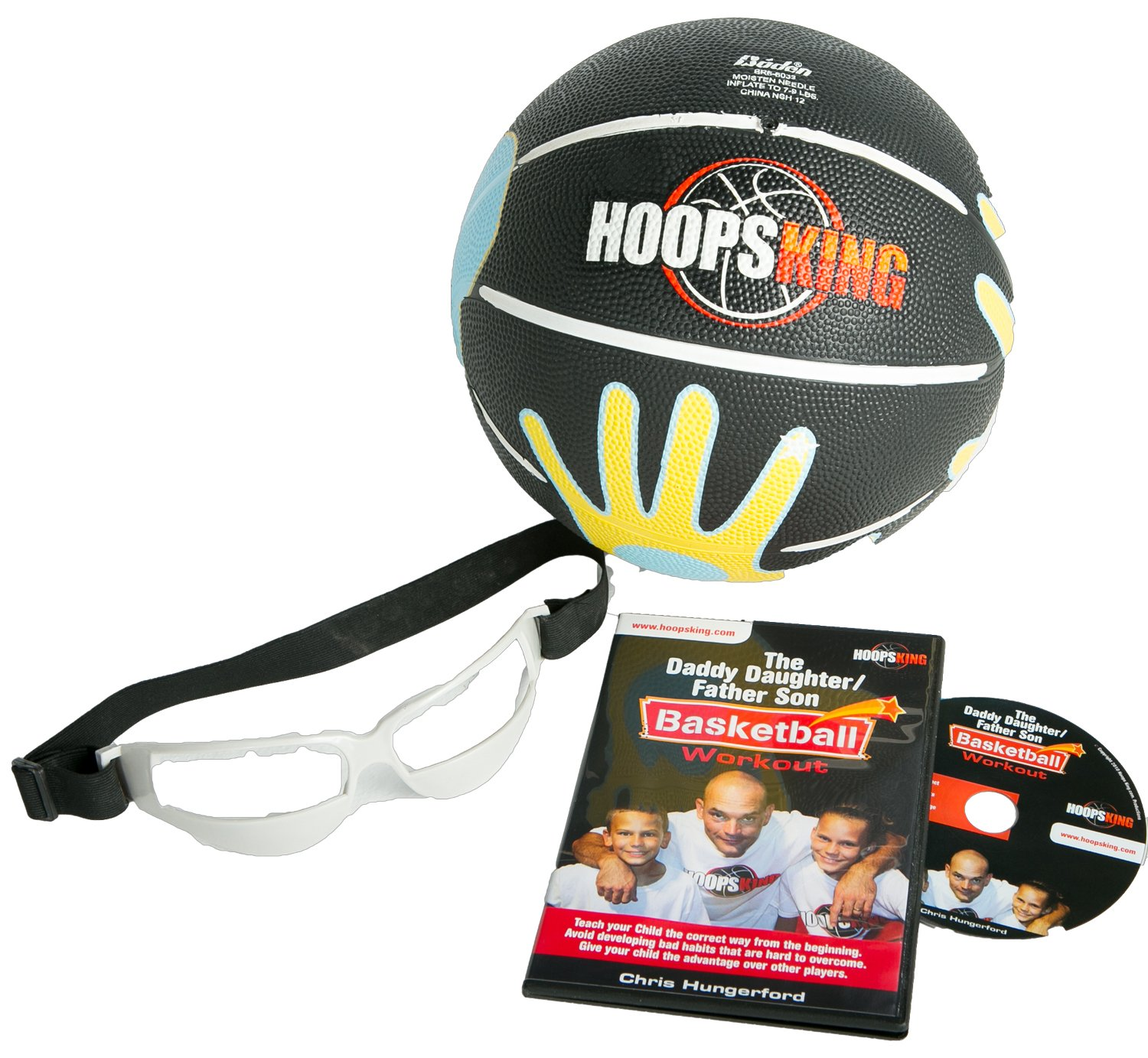 HoopsKing Father Son/Daughter Youth Basketball Fun Pack with Coaching DVD, 27.5''SkilCoach ball, Basketball Dribble Glasses