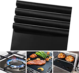 4 Pack Oven Liners for Bottom of Gas Oven (16 x 24 Inch),Reusable Nonstick Heat Resistant Liner Mat for Microwave Electric Oven,Stove Guard Stove Top Protector,Grill Mats for Outdoor Grill