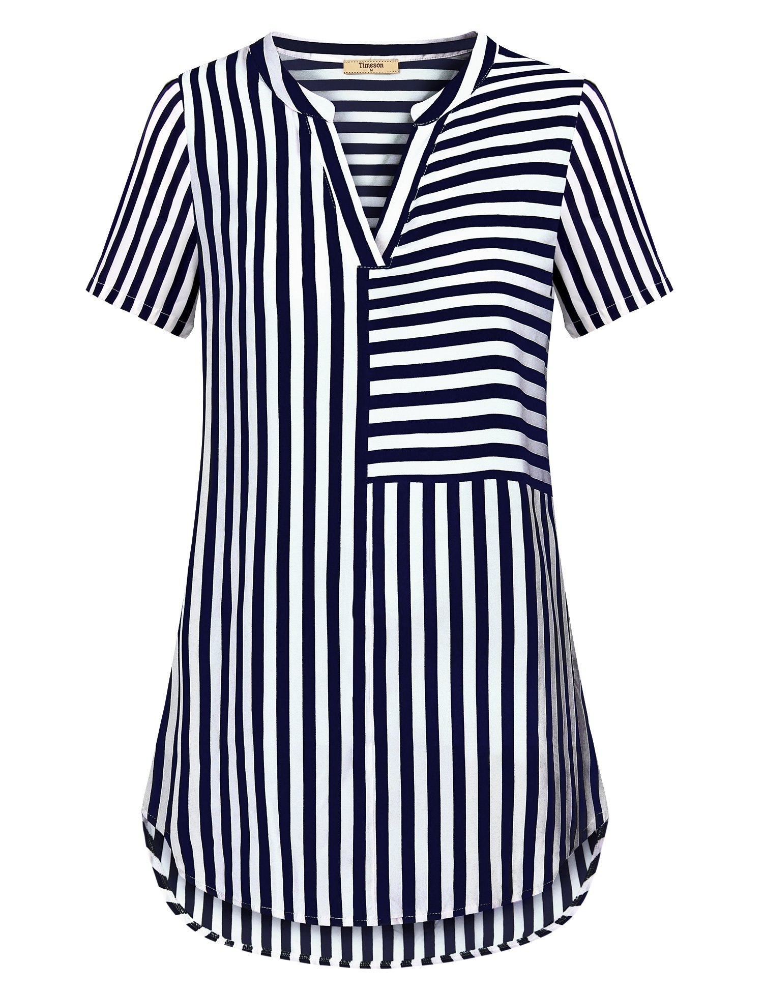 Timeson Casual Business Blouses, Womens V Neck Short Sleeve Summer Blouses Lightweight Cool Slim Fit Flowy Silky Chiffon Henley Shirt Tops Flattering Cozy Striped Blouse Dark Blue Large