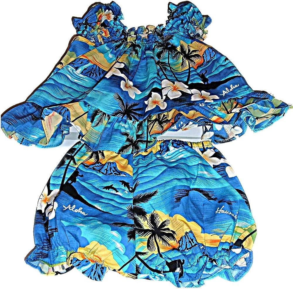 Teal flower print Baby Hawaiian dress