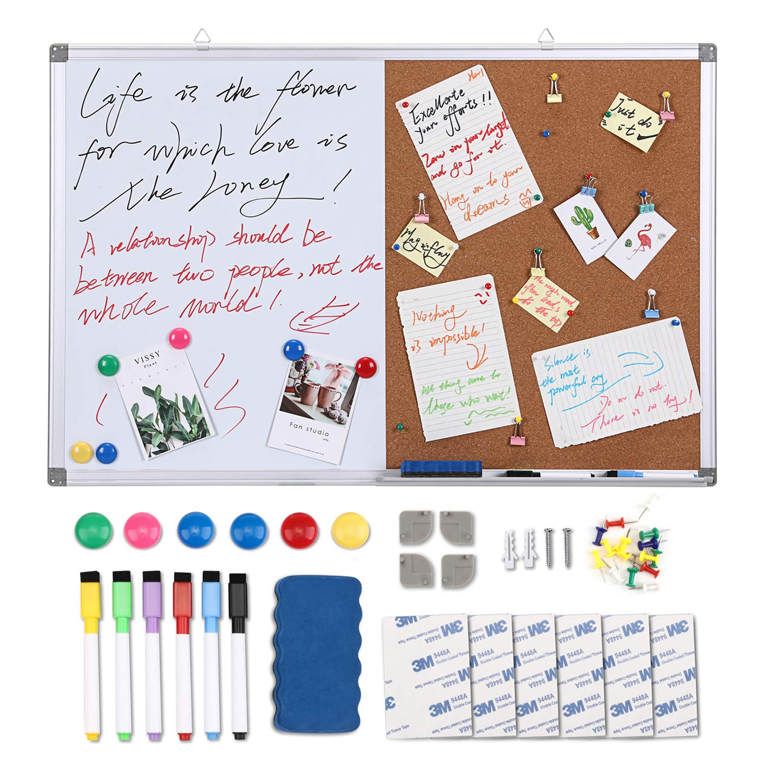 Magicfly 36 x 24 inch Cork/Dry Erase Combo Board, Magnetic Whiteboard Bulletin Board Set with 6 Water Based Marker+6 Magnets+1 Magnetic Eraser+ 20 Push Pins for Home/Office