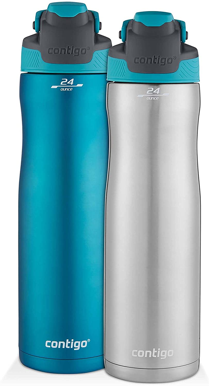 Contigo AUTOSEAL Chill Stainless Steel Water Bottles, 24 oz, SS/Scuba & Scuba, 2 Pack