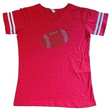 b4b6f50fef00 FanGarb Womens Girls Rhinestone Bedazzled red Football v-Neck tee Shirt  Small