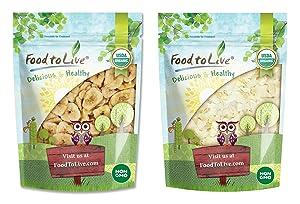 Organic Fruits Chips Bundle - Organic Banana Chips, 2 Pounds and Organic Coconut Chips, 1.5 Pounds - Non-GMO, Kosher, Raw, Vegan