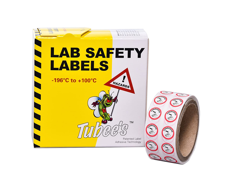 Camlab Plastics RTP/130 Tubee's Hazard Labels, Corrosive, Reel, White (Pack of 500) 1158121