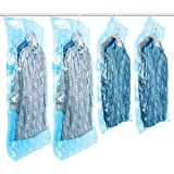 TAILI Hanging Vacuum Space Saver Bags for Clothes, Set of 4 (2 Long 135x70 cm, 2 Short 105x70cm),Vacuum Seal Storage Bag Clear Bags for Suits, Dress or Jackets, Closet Organizer