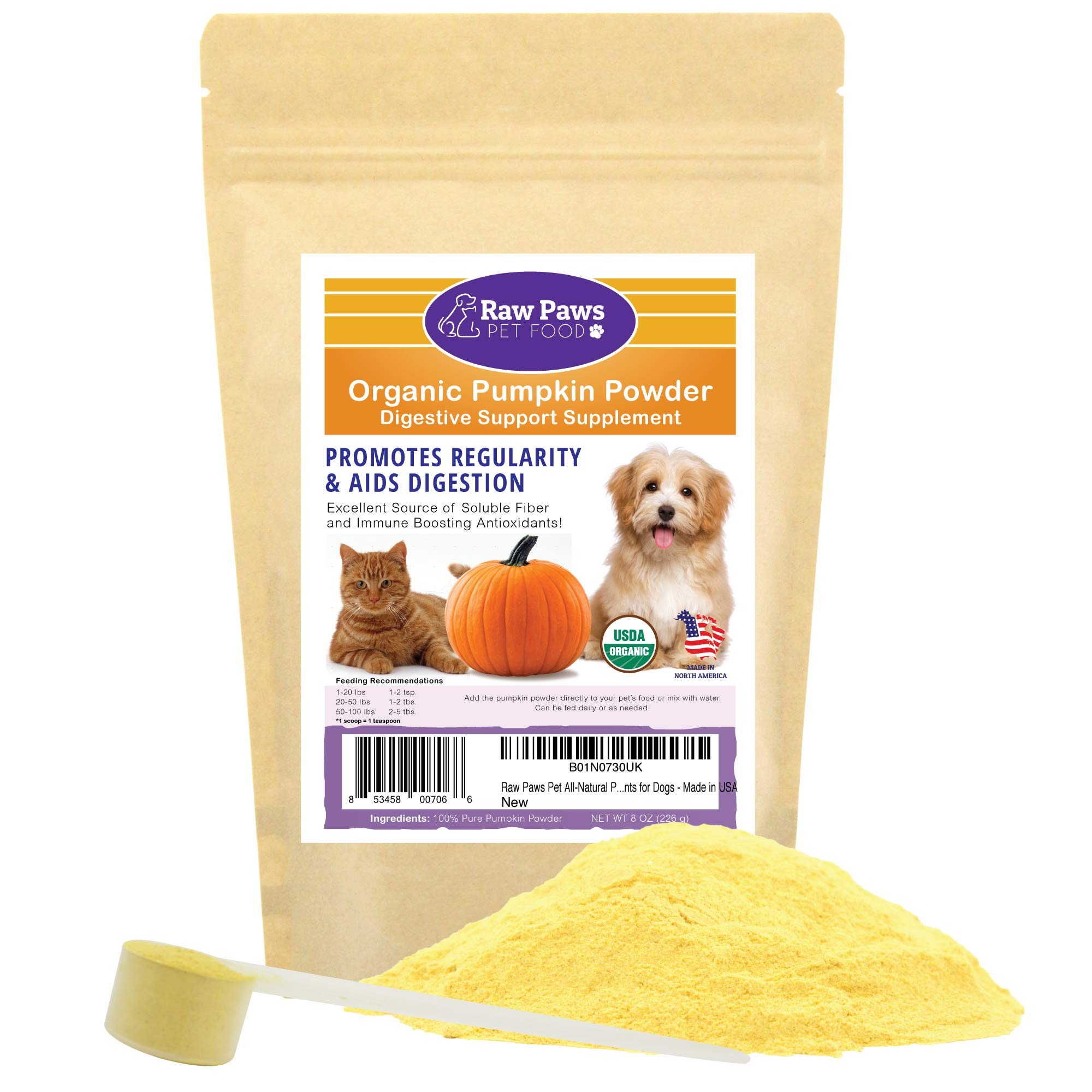 Raw Paws Pet Organic Pure Pumpkin for Dogs & Cats, Powder 8-oz - Fiber for Dogs - Cat & Dog Digestive Supplement for Healthy Stool, Regularity, Dog Gas Relief & Anti Scoot - Cat & Dog Diarrhea Relief by Raw Paws