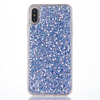 buy popular 872d7 dfee8 iPhone X Case [with Free Tempered Glass Screen Protector],Mo-Beauty Luxury  Bling Shiny Sparkle Glitter Soft TPU Silicone Gel Protective Shell Case ...