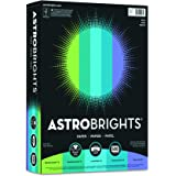 Wausau Astrobrights Heavy Duty Paper, 24 lb, 8.5 x 11 Inches, Assortment of 5 Cool Tone Colors, 500 Sheets (20264)