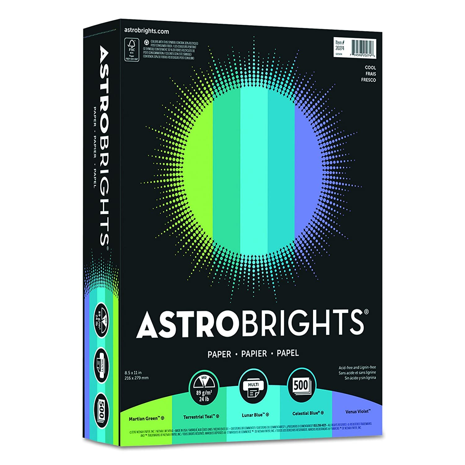 Astrobrights Color Paper, 8.5 x 11, 24 lb / 89 gsm, Cool 5-Color Assortment, 500 Sheets 8.5 x 11 Wausau Paper Corp. 20274