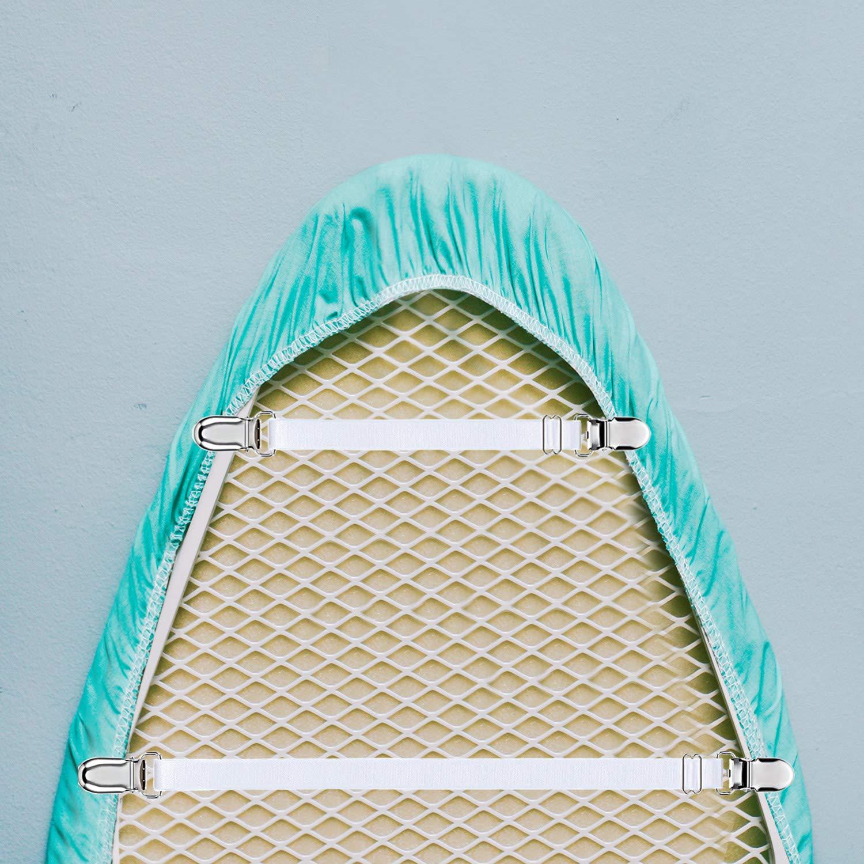 Clips de las Botas Sujetadores de Cubierta El/ásticos de Planchado 6 Piezas, Blanco Soporte de la Esquina de la Cama Clips Del Mantel de la Abrazadera Del Sof/á de la Correa de la Hoja
