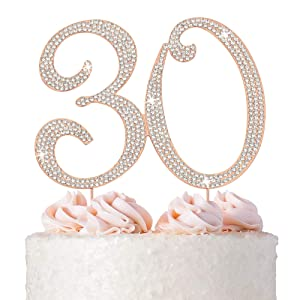 30 Cake Topper - Premium Rose Gold Metal - 30th Birthday or Anniversary Party Sparkly Rhinestone Decoration Makes a Great Centerpiece - Now Protected in a Box