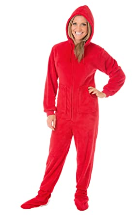 Hoodie Footed Onesie Red Plush Drop Seat Footed Pajamas with Butt ...