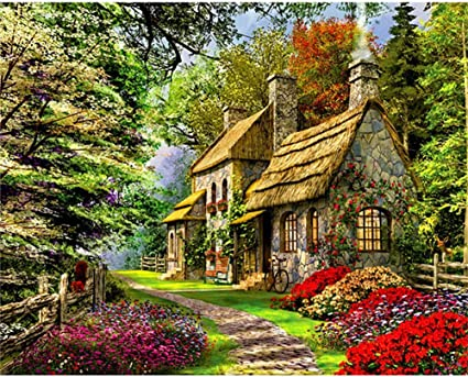 Cottage DIY Painting Kit for Craft Lovers Fall Cottage DIY Painting By Diamonds Kit Vacation theme Paint by Diamonds Kit