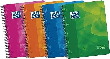 Oxford Lagoon - Pack de 5 cuadernos doble espiral con tapa de plástico, A4+: Amazon.es: Oficina y papelería
