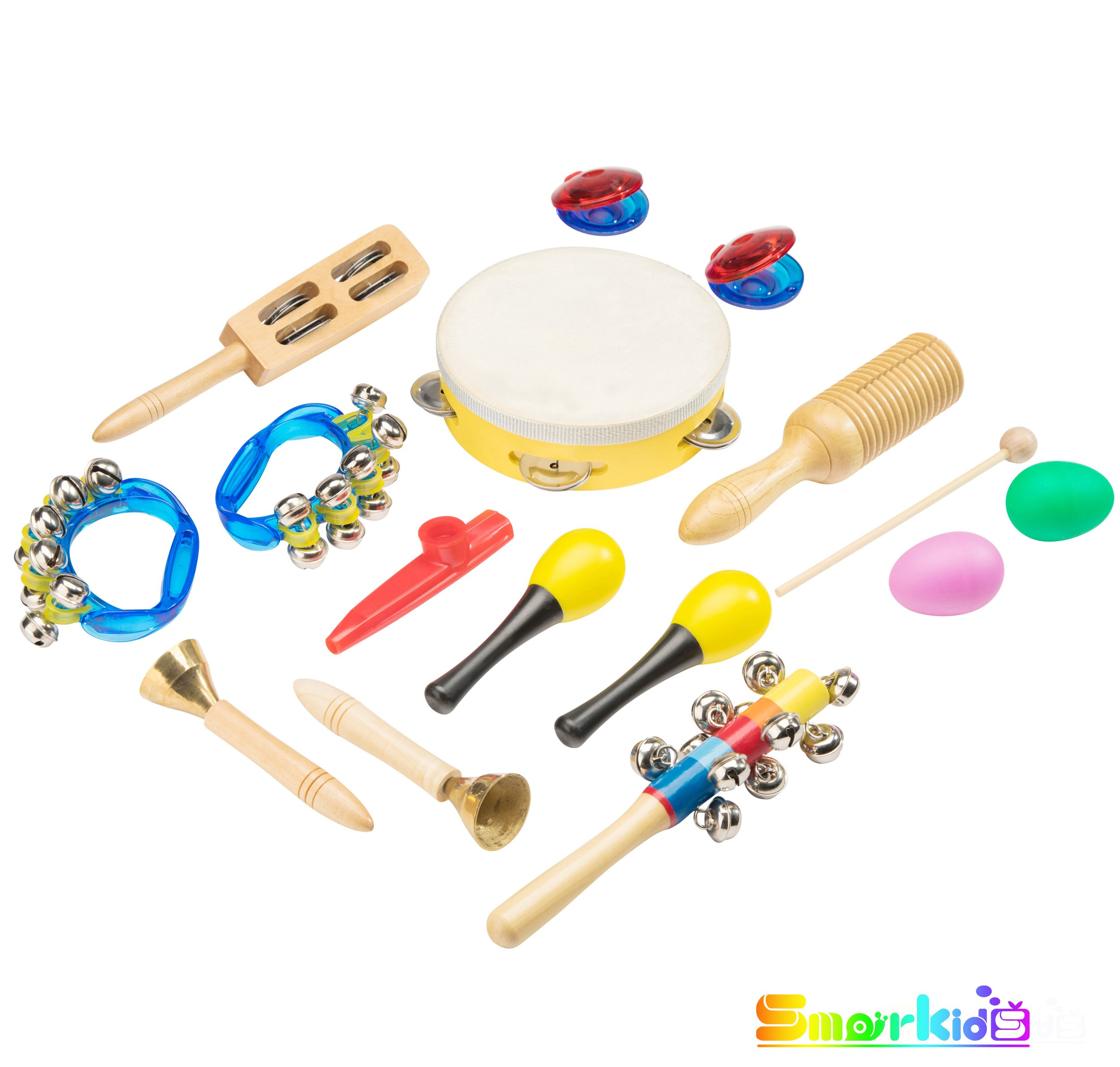 Smarkids Musical Instruments Toddler Musical Toys 15 pcs Wooden Baby Toys for Kids Preschool Educational Early Learning Offworld Percussion Set Rattle for Boys and Girls with Toy Storage Backpack