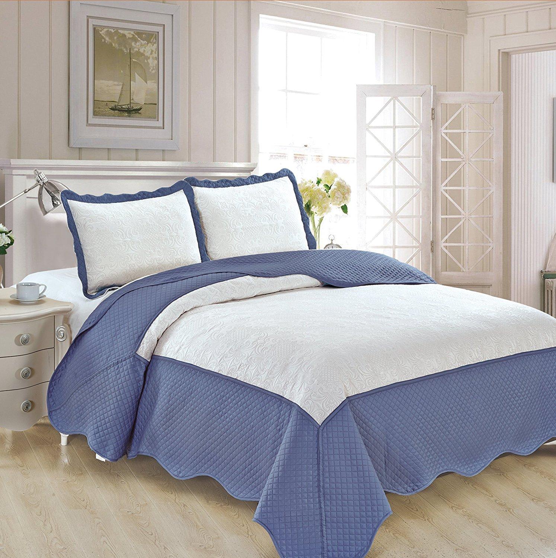 豪華なエンボス加工ベッドカバーセット 特大サイズ Full/Queen Bedspread B07G5PP8SD ホワイト/ブルー Full/Queen Bedspread