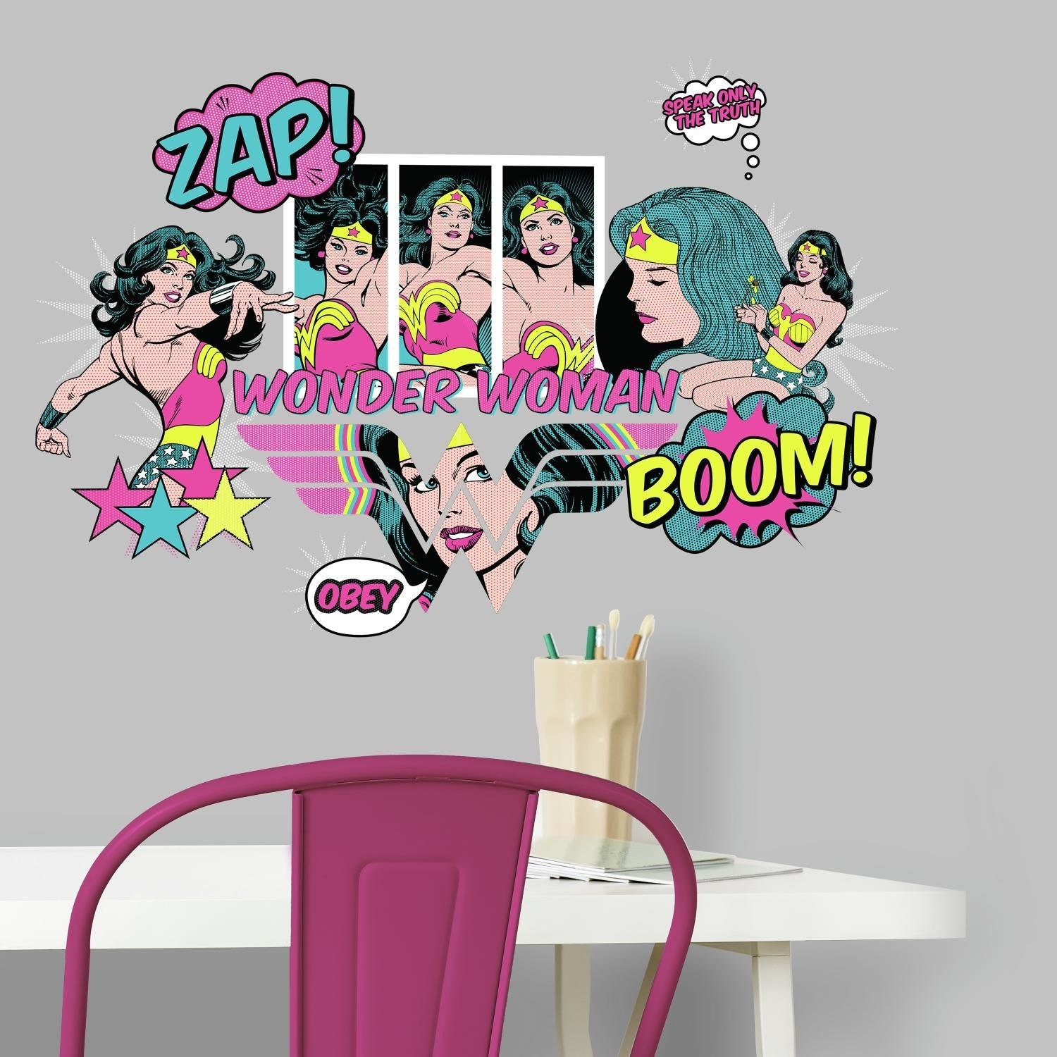 RoomMates RMK3604SCS Wonder Woman Pop Art Peel and Stick Wall Decals by RoomMates