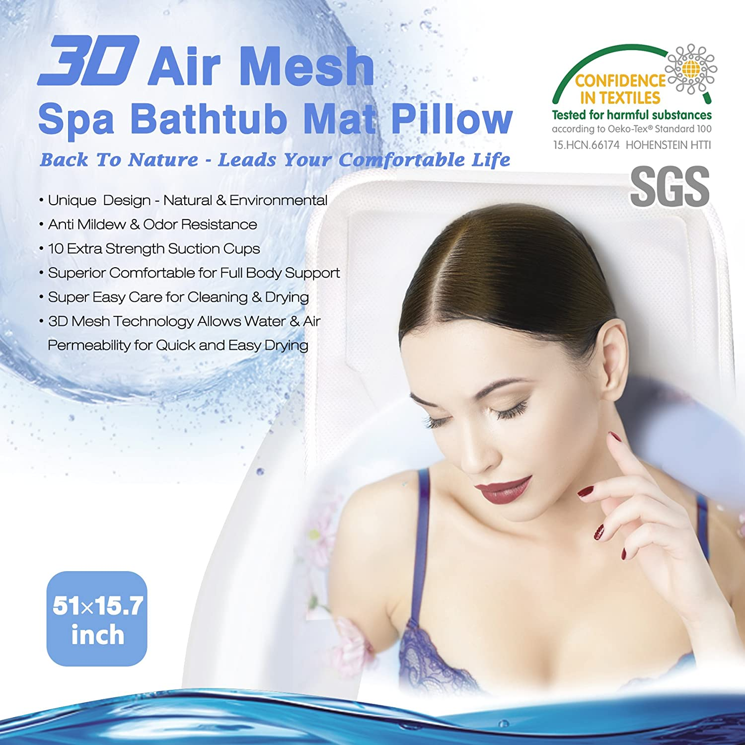 3 in 1 Full Body Spa Bath Mat with Pillow Non-Slip Mattress Neck /& Back Support