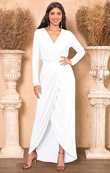 c424fe88a17 KOH KOH Womens Long Sleeve Formal Wrap Draped Cocktail V-Neck Gown Maxi  Dress at Amazon Women s Clothing store