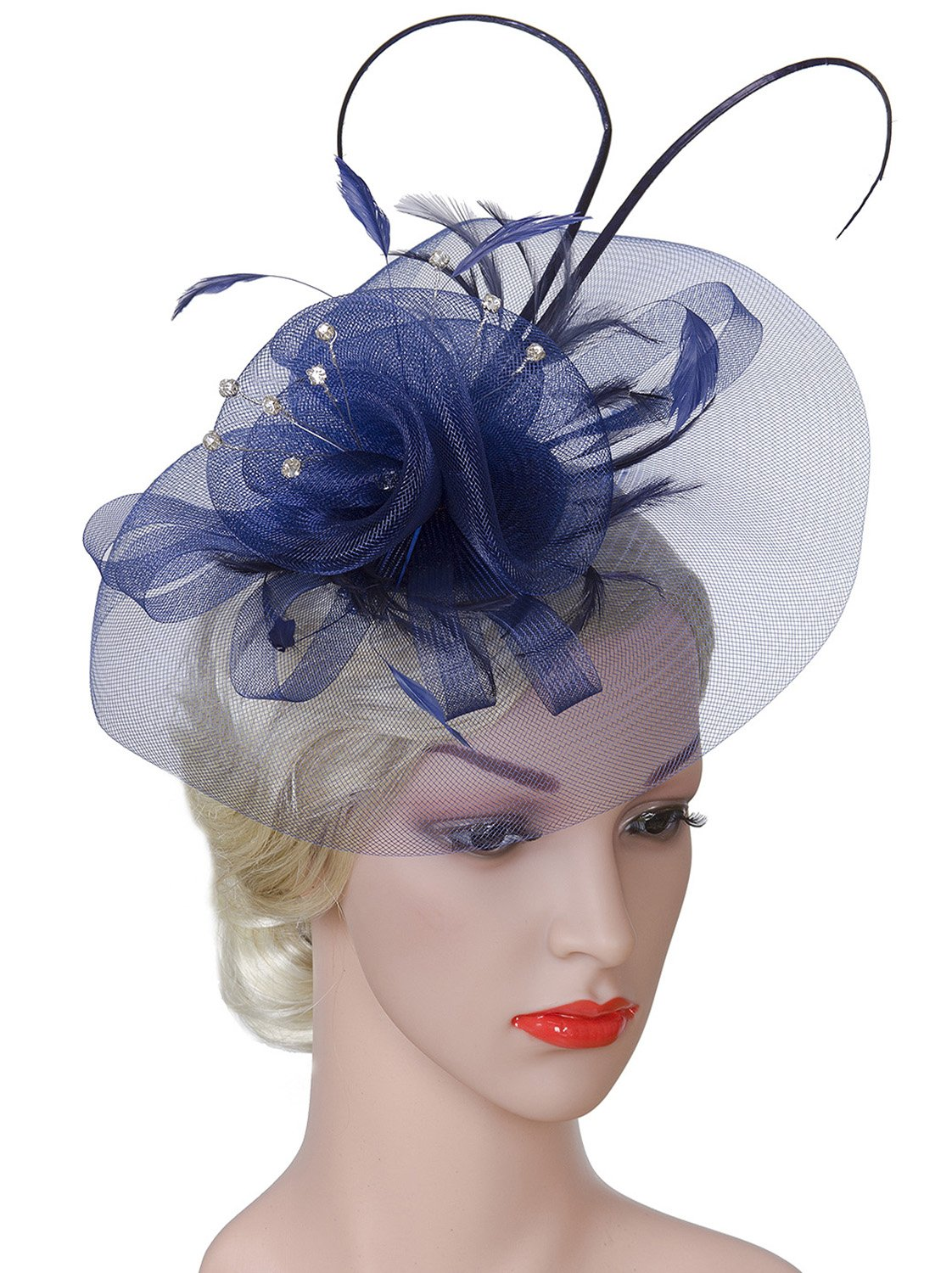 Vijiv Women Vintage Derby Fascinator Hat Pillbox Headband Feather Cocktail Tea Party