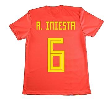 LICECIA DE LA REAL FEDERACION DE FUTBOL ESPAÑOLA Camiseta Iniesta Infantil España. Producto Oficial Licenciado Mundial Rusia 2018.