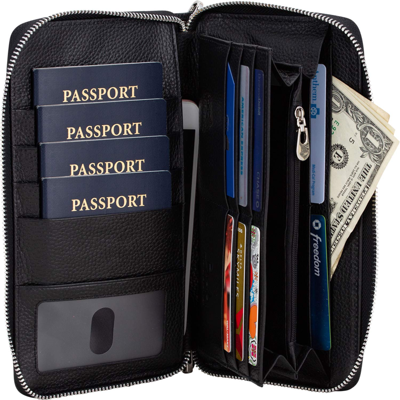 Brelox Travel Wallet Family Passport Holder - RFID Document Organizer for 2 3 4 passports - Genuine Leather - Black