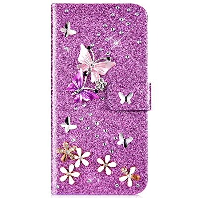 IKASEFU Compatible with Samsung Galaxy S8 Plus Case Glitter Shiny butterfly Rhinestone Floral Pu Leather Diamond Flash Bling Wallet Strap Case with Card Holder Magnetic stand Flip Cover Case,Purple: Musical Instruments