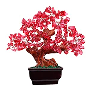 Parma77 Mart Feng Shui Red Crystal Money Tree Bonsai Style Decoration for Wealth and Luck
