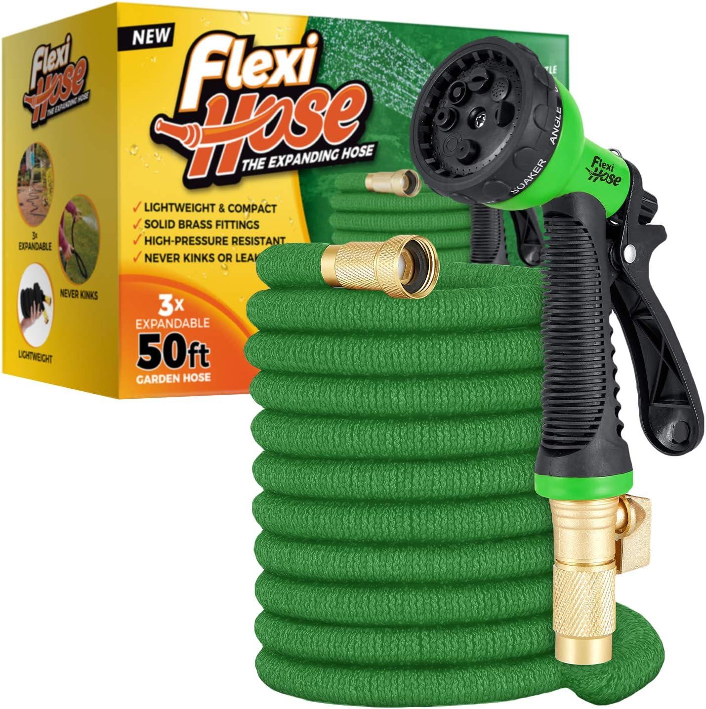 Details about  /Flexi Hose /& 8 Function Nozzle 50 FT Lightweight Expandable Garden Hose