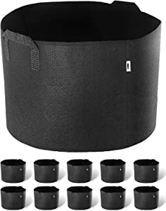 iPower GLGROWBAG3X5X2 Grow Bags Nonwoven Fabric Pots Aeration Container with Strap Handles for Garden and Planting, 3 Gallon, Black