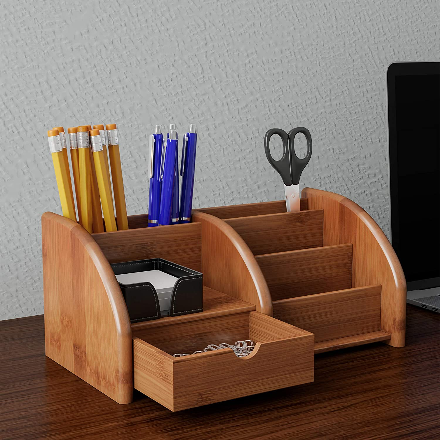 Lavish Home 5 Compartment Bamboo Desk Organizer-Wooden Supply Storage Accessory with Drawers and Natural Finish for Home, School or Office
