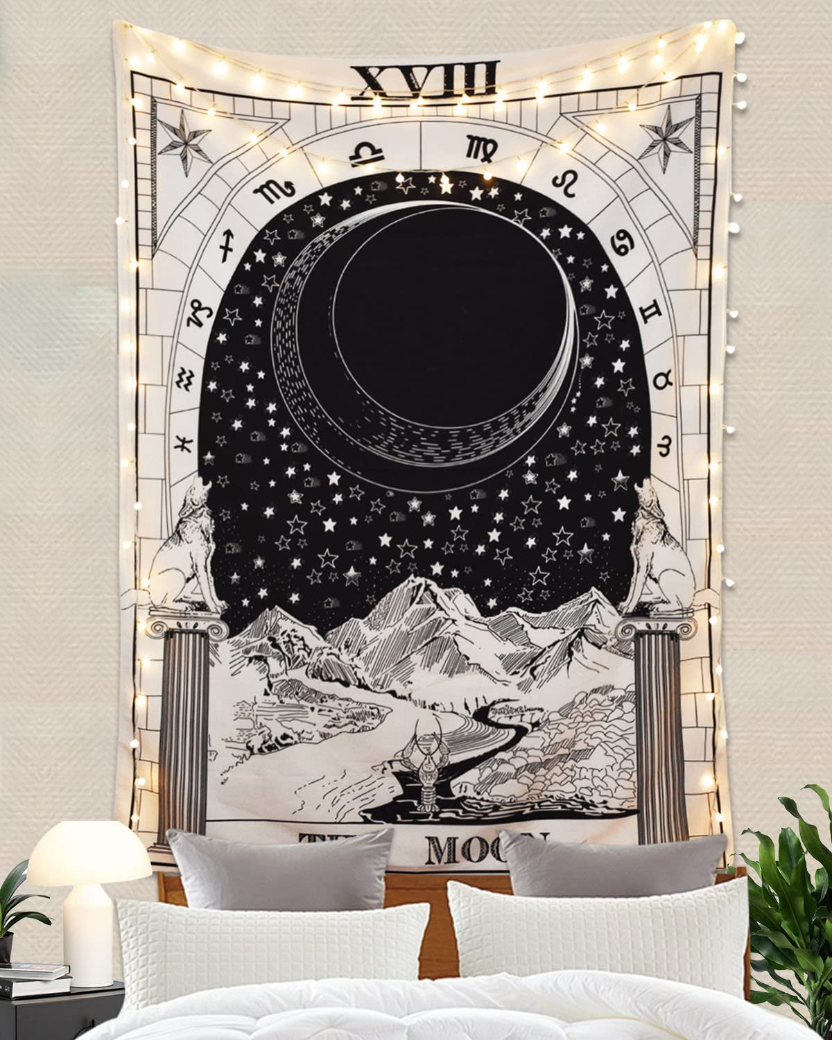 """Romantic Tarot Tapestry The Moon The Star The Sun Tapestry Medieval Europe Divination Tapestry Wall Hanging Tapestries Mysterious Wall Tapestry for Home Decor (59""""×82"""", The Moon)"""